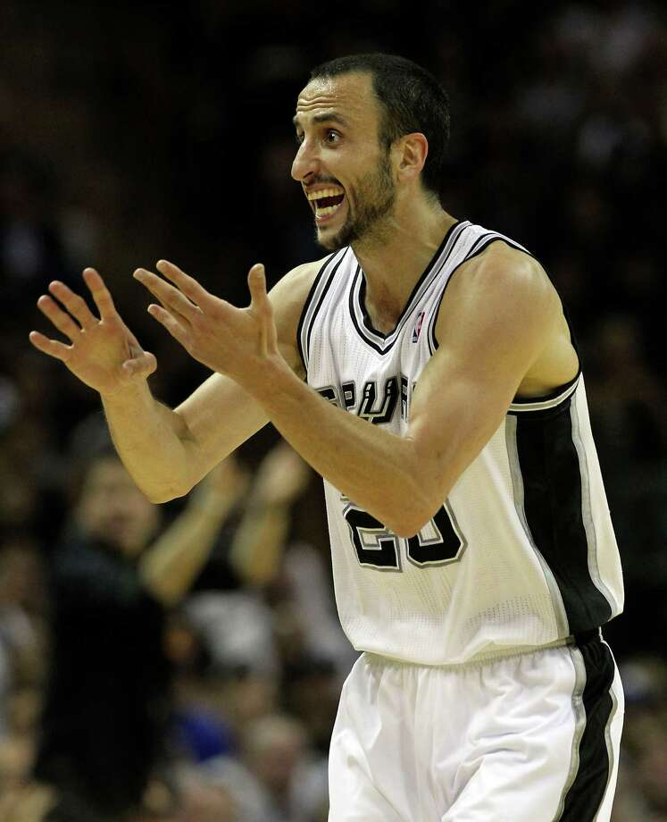 San Antonio Spurs' Manu Ginobili (20) reacts during the first half of game one of the NBA Western Conference Finals in San Antonio, Texas on Sunday, May 27, 2012. Photo: Kin Man Hui, Express-News / © 2012 San Antonio Express-News