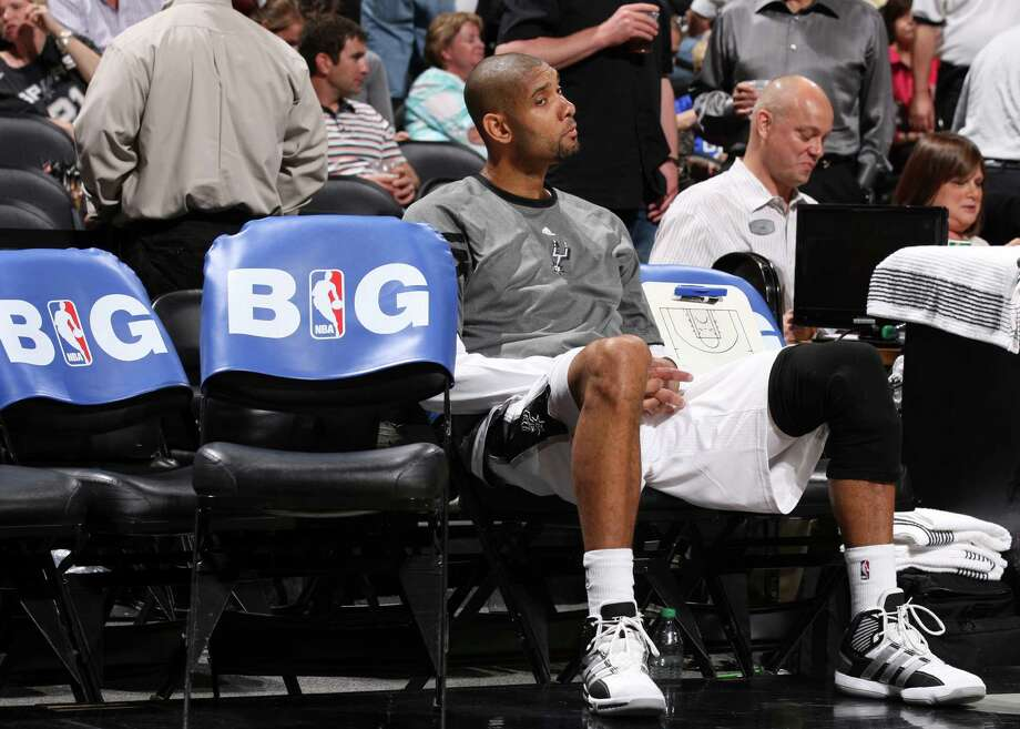 San Antonio Spurs' Tim Duncan (21) sits on the bench during the second half of game one of the NBA Western Conference Finals in San Antonio, Texas, Sunday, May 27, 2012. Photo: Edward A. Ornelas, Express-News / © 2012 San Antonio Express-News
