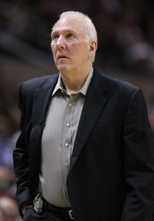 San Antonio Spurs coach Gregg Popovich during the first half of game one of the NBA Western Conference Finals in San Antonio, Texas, Sunday, May 27, 2012. Photo: Edward A. Ornelas, Express-News / © 2012 San Antonio Express-News