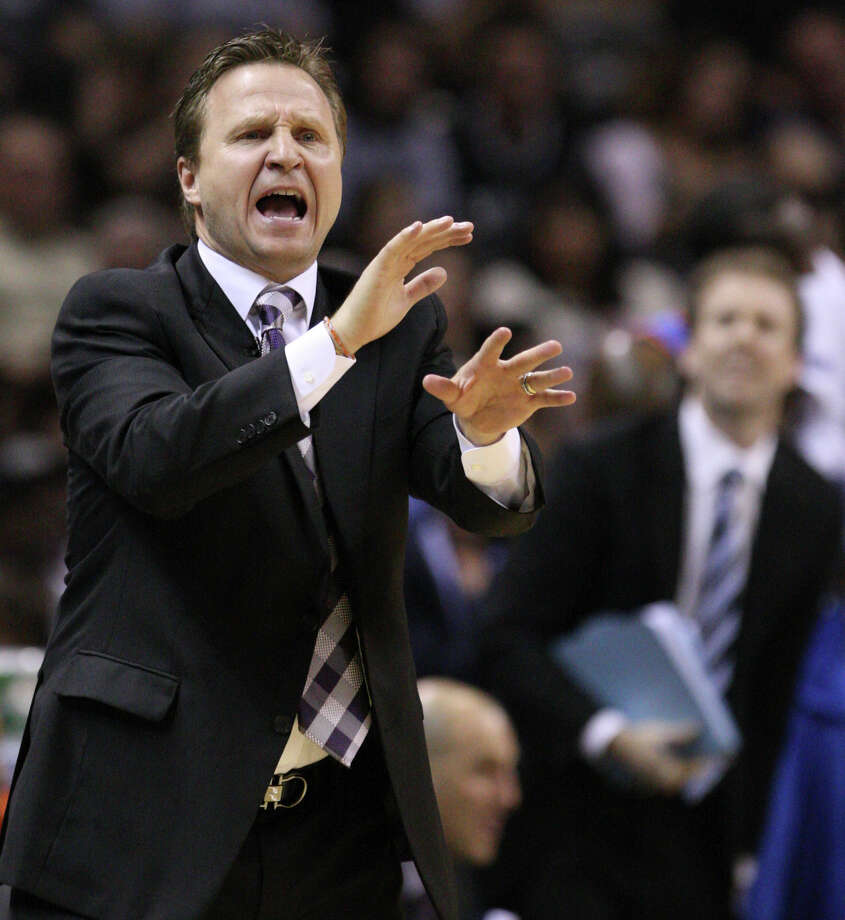 Oklahoma City Thunder head coach Scott Brooks gestures during the first half of game one of the NBA Western Conference Finals in San Antonio, Texas, Sunday, May 27, 2012. Photo: Edward A. Ornelas, Express-News / © 2012 San Antonio Express-News