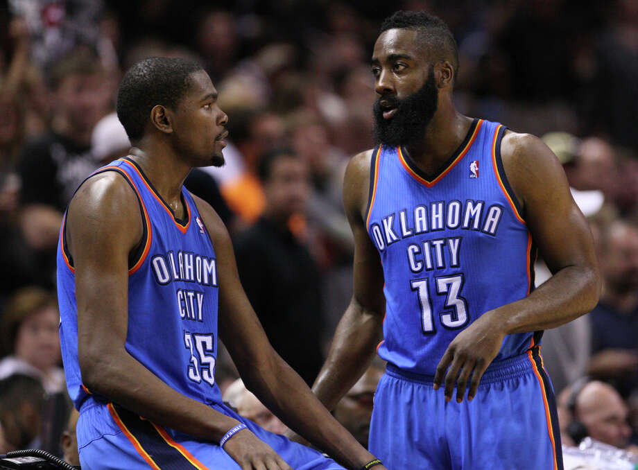 Oklahoma City Thunder's Kevin Durant (35) talks to Oklahoma City Thunder's James Harden (13) during the second half of game one of the NBA Western Conference Finals in San Antonio, Texas, Sunday, May 27, 2012. Photo: Edward A. Ornelas, Express-News / © 2012 San Antonio Express-News
