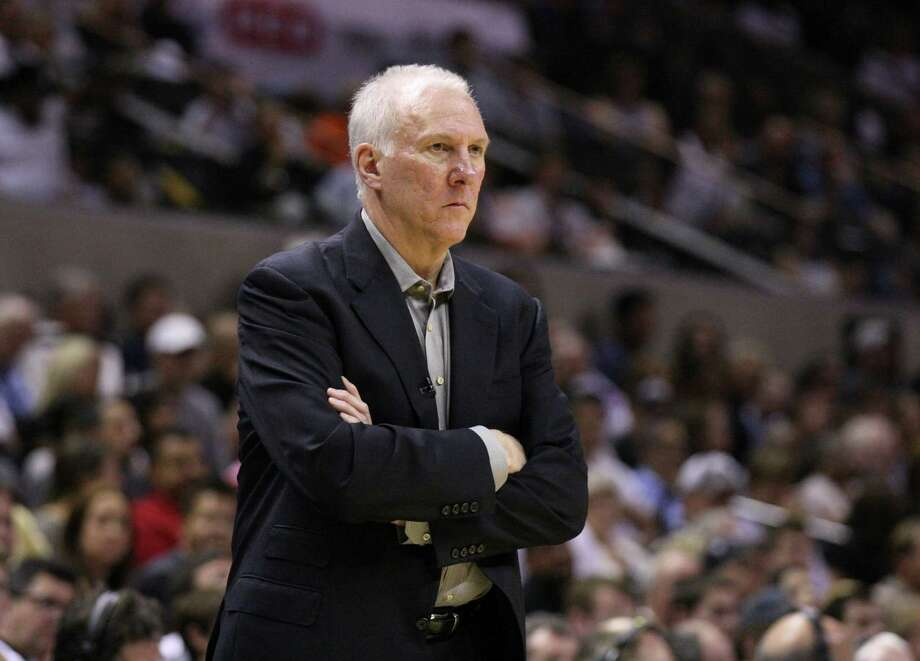 San Antonio Spurs coach Gregg Popovich looks on during the second half of game one of the NBA Western Conference Finals in San Antonio, Texas, Sunday, May 27, 2012. Photo: Edward A. Ornelas, Express-News / © 2012 San Antonio Express-News