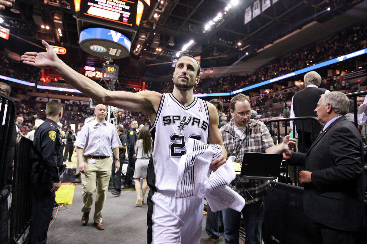 Spurs' Manu Ginobili walks off the court after game one of the NBA Western Conference Finals in San Antonio, Texas, Sunday, May 27, 2012. The Spurs won 101-98.