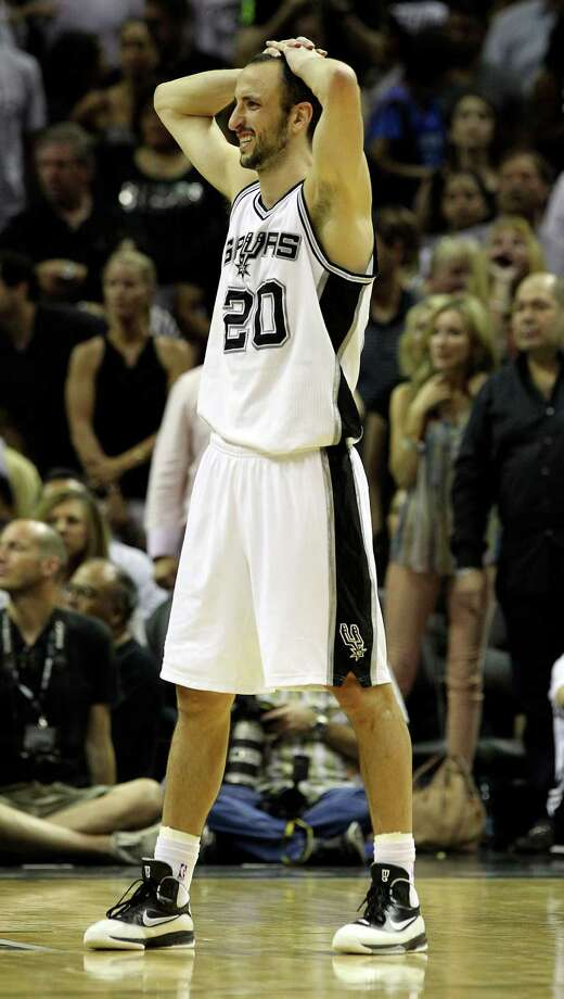 San Antonio Spurs' Manu Ginobili (20) reacts during the second half of game one of the NBA Western Conference Finals in San Antonio, Texas on Sunday, May 27, 2012. Photo: Kin Man Hui, Express-News / © 2012 San Antonio Express-News