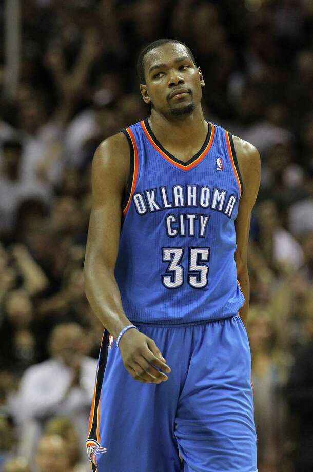 Oklahoma City Thunder's Kevin Durant (35) walks down the court during the second half of game one of the NBA Western Conference Finals in San Antonio, Texas on Sunday, May 27, 2012. Photo: Kin Man Hui, Express-News / © 2012 San Antonio Express-News