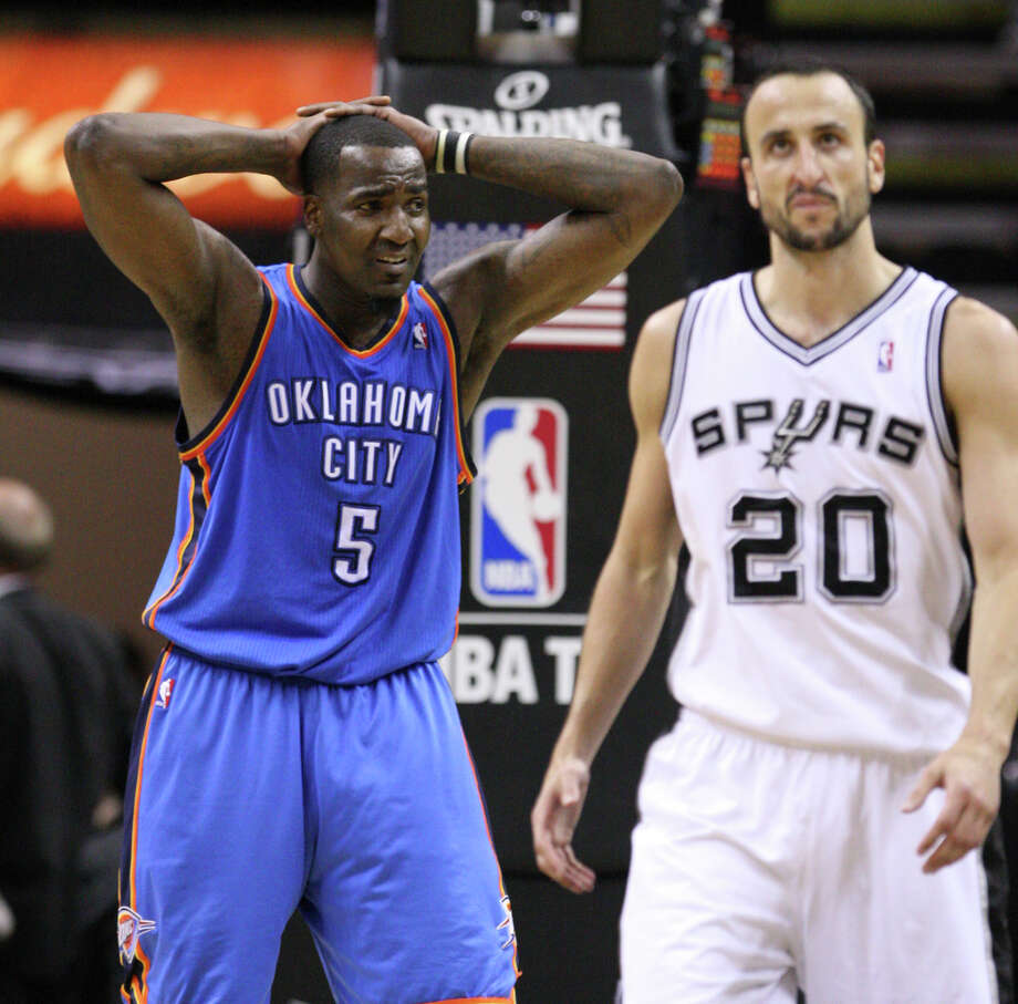 Oklahoma City Thunder's Kendrick Perkins (5) reacts near San Antonio Spurs' Manu Ginobili (20) during the second half of game one of the NBA Western Conference Finals in San Antonio, Texas, Sunday, May 27, 2012. Photo: Edward A. Ornelas, Express-News / © 2012 San Antonio Express-News