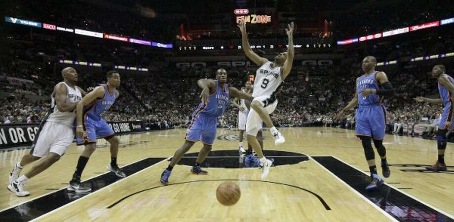 San Antonio Spurs' Tony Parker (9) loses control of the ball during the first half of game one of the NBA Western Conference Finals in San Antonio, Texas on Sunday, May 27, 2012. (San Antonio Express-News)