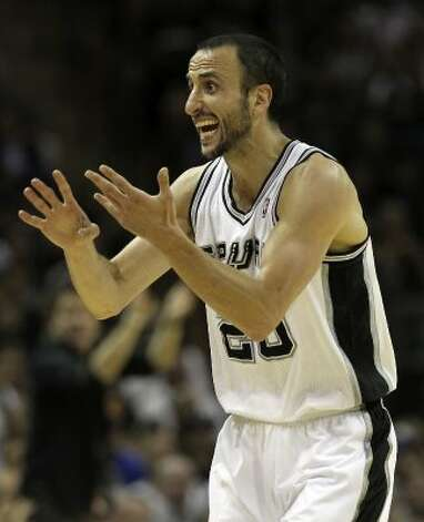 San Antonio Spurs' Manu Ginobili (20) reacts during the first half of game one of the NBA Western Conference Finals in San Antonio, Texas on Sunday, May 27, 2012. (San Antonio Express-News)