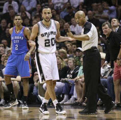 San Antonio Spurs' Manu Ginobili (20) reacts near an official during the first half of game one of the NBA Western Conference Finals in San Antonio, Texas, Sunday, May 27, 2012. (San Antonio Express-News)