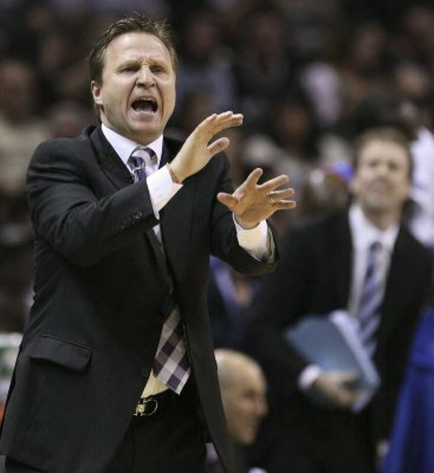 Oklahoma City Thunder head coach Scott Brooks gestures during the first half of game one of the NBA Western Conference Finals in San Antonio, Texas, Sunday, May 27, 2012. (San Antonio Express-News)