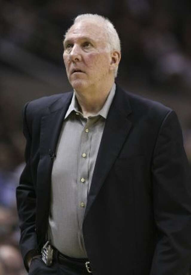 San Antonio Spurs coach Gregg Popovich during the first half of game one of the NBA Western Conference Finals in San Antonio, Texas, Sunday, May 27, 2012. (San Antonio Express-News)