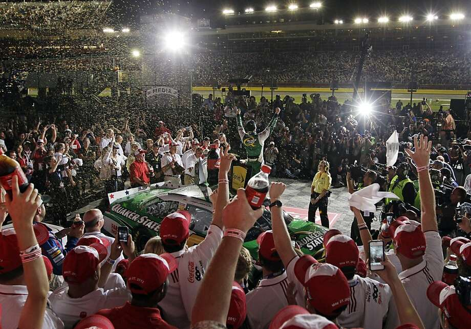 Kasey Kahne celebrates in victory lane after winning the NASCAR Coca-Cola 600 Sprint Cup Series auto race in Concord, N.C., Sunday, May 27, 2012. (AP Photo/Chuck Burton) Photo: Chuck Burton, Associated Press