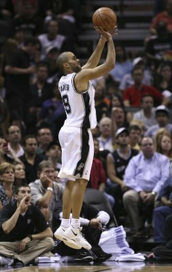 San Antonio Spurs' Tony Parker (9) shoots a three point basket during the second half of game one of the NBA Western Conference Finals in San Antonio, Texas, Sunday, May 27, 2012. (San Antonio Express-News)