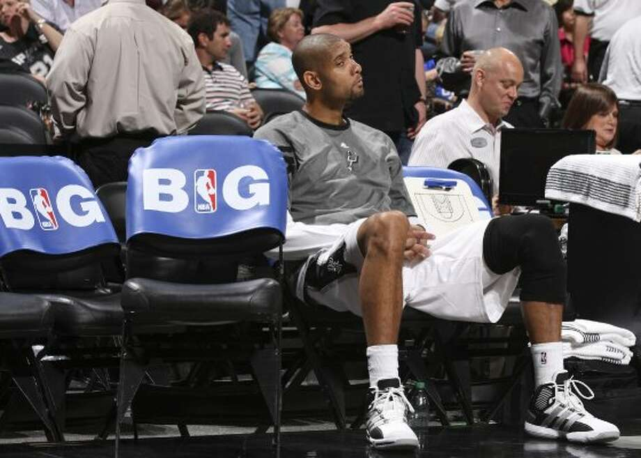 San Antonio Spurs' Tim Duncan (21) sits on the bench during the second half of game one of the NBA Western Conference Finals in San Antonio, Texas, Sunday, May 27, 2012. (San Antonio Express-News)