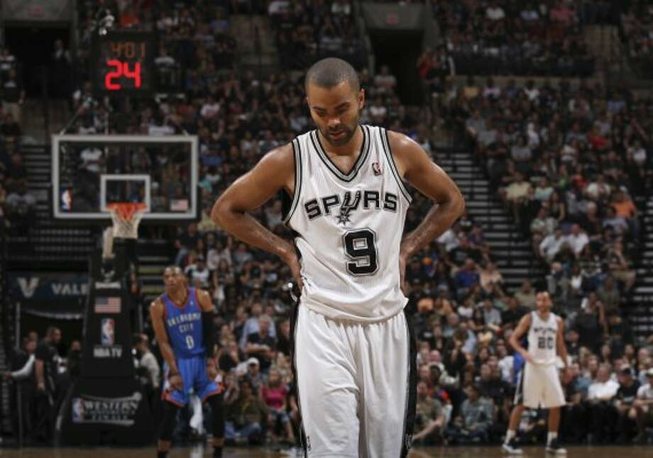 San Antonio Spurs' Tony Parker (9) during the second half of game one of the NBA Western Conference Finals in San Antonio, Texas, Sunday, May 27, 2012. (San Antonio Express-News)