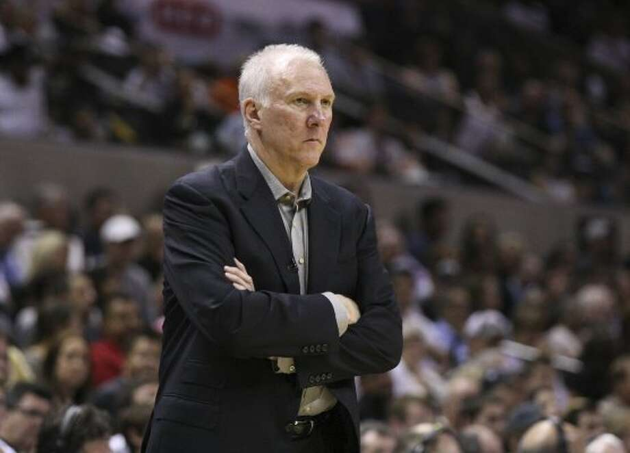 San Antonio Spurs coach Gregg Popovich looks on during the second half of game one of the NBA Western Conference Finals in San Antonio, Texas, Sunday, May 27, 2012. (San Antonio Express-News)