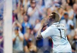 KANSAS CITY, KS - MAY 27:  C.J. Sapong #17 of Sporting KC celebrates after scoring during the game against the San Jose Earthquakes on May 27, 2012 at Livestrong Sporting Park in Kansas City, Kansas.  (Photo by Jamie Squire/Getty Images)
