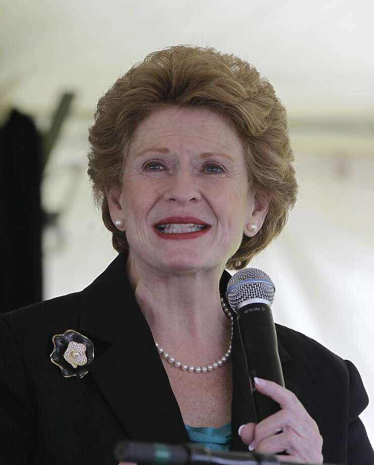 Sen. Debbie Stabenow, D-Mich., is seen before a ground breaking ceremony for the retailer in Detroit, Monday, May 14, 2012. (AP Photo/Carlos Osorio) Photo: Carlos Osorio, Associated Press