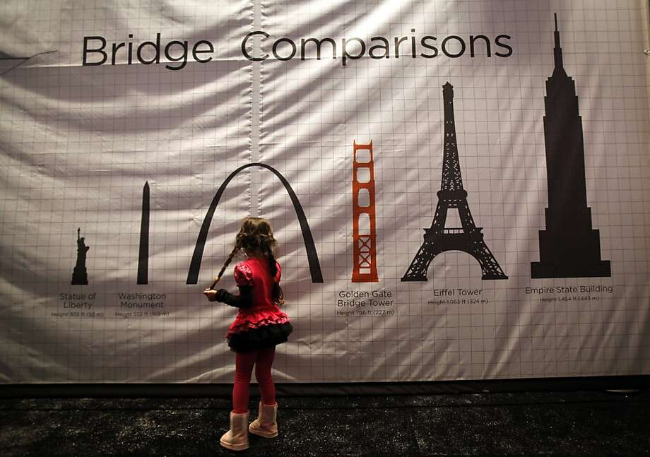 Marisa Miyaki, 5, of San Francisco, checks out one of the informational displays inside the Bridge History Tent during the celebration of the 75th anniversary of the Golden Gate Bridge at Crissy Field in San Francisco, Calif. Sunday, May 27, 2012. Photo: Sarah Rice, Special To The Chronicle