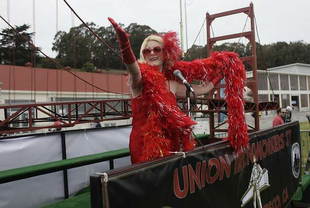 Kathy Holly of San Francisco performs at the Laborfest during the Golden Gate Festival celebrating the Golden Gate Bridge's 75th anniversary at Crissy Field  on Sunday, May 27, 2012 in San Francisco, Calif. Photo: Lea Suzuki, The Chronicle