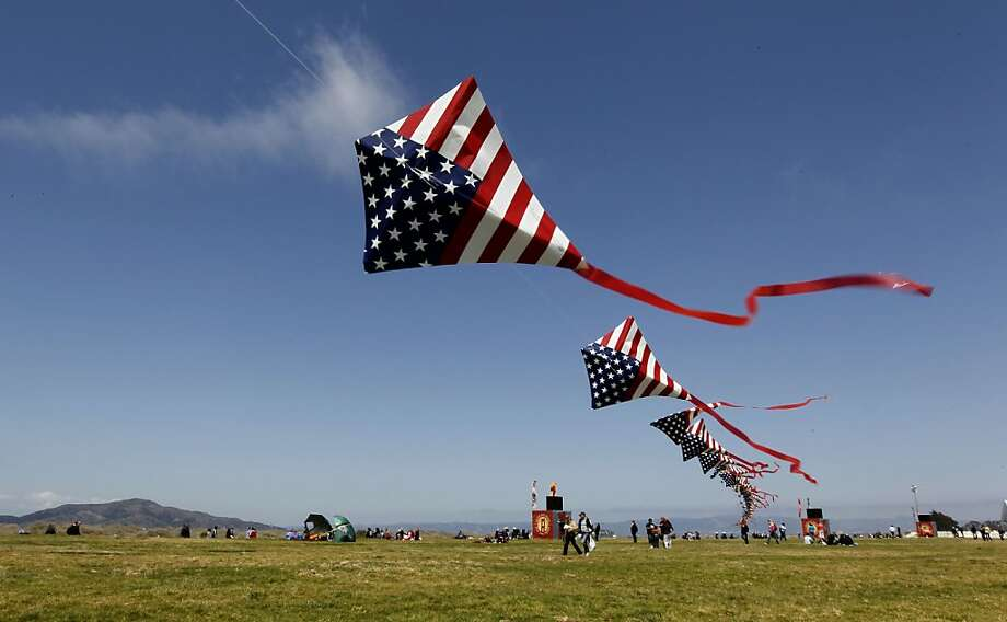 Kite flyers along the meadow at Crissy field, during the 75th anniversary celebration of the Golden Gate Bridge, on Sunday May 27, 2012, in San Francisco, Ca. Photo: Michael Macor, The Chronicle