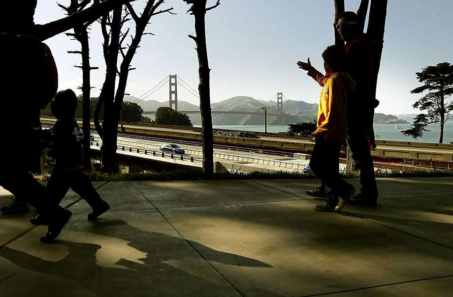 Visitors make their way through The Presidio for the 75th anniversary celebration of the Golden Gate Bridge along Crissy Field, on Sunday May 27, 2012, in San Francisco, Ca. Photo: Michael Macor, The Chronicle