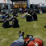 Taking a snooze during the early afternoon on the Marina Green in San Francisco, California, on Sunday, May 27, 2012.