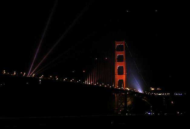 Lights shine off the Golden Gate Bridge to mark its 75th anniversary in San Francisco, Calif. Sunday, May 27, 2012. Photo: Sarah Rice, Special To The Chronicle