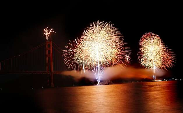 Fireworks explode to celebrate the 75th anniversary of the Golden Gate Bridge in San Francisco, Calif. Sunday, May 27, 2012. Photo: Sarah Rice, Special To The Chronicle