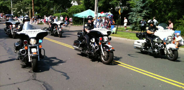 A police motorcycle unit leads Fairfield's annual Memorial Day parade on Monday morning. Photo: Andrew Brophy / Fairfield Citizen contributed