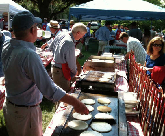A pancake breakast, a tradition of Fairfield's Memorial Day, was served at St. Paul's Episcopal Church on Old Post Road before the parade Monday morning. Photo: Andrew Brophy / Fairfield Citizen contributed