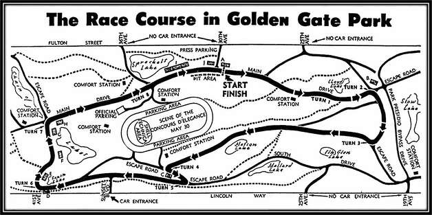 A historic map from the race program cover showing the Golden Gate Park Road Races from the 1950s. Credit, San Francisco Region, Sports Car Club of America. Photo: San Francisco Region, Sports Car Club Of America