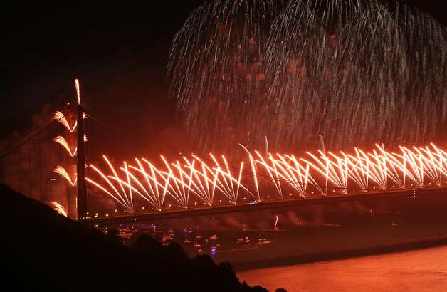 The San Francisco Bay Area celebrated the Golden Gate Bridge 75th Anniversary Sunday May 27, 2012 with a spectacular fire works show in San Francisco California. Photo: Lance Iversen, The Chronicle