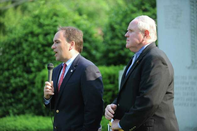 Greenwich First Selectman Peter Tesei and Selectman David Theis speak at the Ninth District Veterans Association's Memorial Day Parade in Glenville Sunday, May 27, 2012. Photo: Helen Neafsey / Greenwich Time