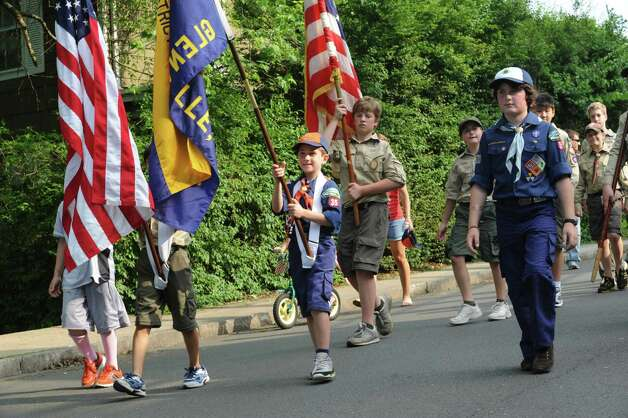 Glenville Boy Scouts march at the Ninth District Veterans Association's Memorial Day Parade in Glenville Sunday, May 27, 2012. Photo: Helen Neafsey / Greenwich Time