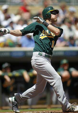 Oakland Athletics Josh Reddick watches his home run off Minnesota Twins starting pitcher Scott Diamond in the first inning of their baseball game Monday, May 28, 2012 in Minneapolis.(AP Photo/Andy King) Photo: Andy King, Associated Press
