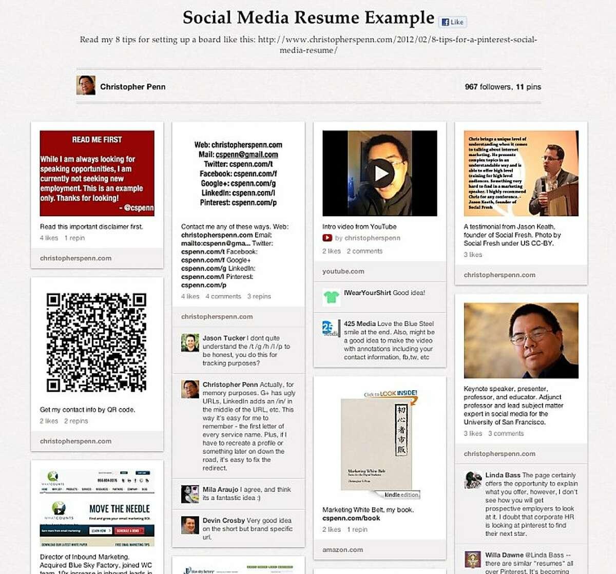 Screenshot of USF online professor Christopher Penn's demo Pinterest resume