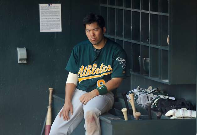 MINNEAPOLIS, MN - MAY 28: Kurt Suzuki #8 of the Oakland Athletics sits in the dugout after a loss to the Minnesota Twins on May 28, 2012 at Target Field in Minneapolis, Minnesota. The Twins defeated the Athletics 5-4. (Photo by Hannah Foslien/Getty Images) Photo: Hannah Foslien, Getty Images