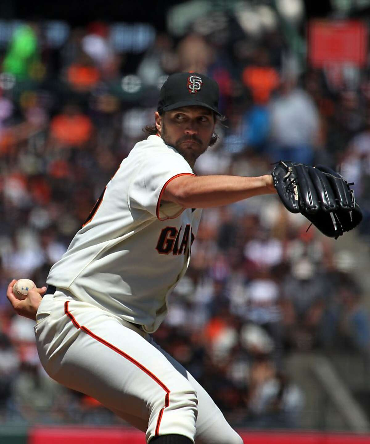 San Francisco starting pitcher Barry Zito throws to the Arizona Diamondbacks in the second inning of their MLB baseball game Monday May 28, 2012 at AT&T Park in San Francisco California.