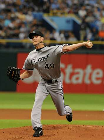 ST. PETERSBURG, FL - MAY 28:  Pitcher Chris Sale #49 of the Chicago White Sox starts against the Tampa Bay Rays May 28, 2012  at Tropicana Field in St. Petersburg, Florida. Photo: Al Messerschmidt, Getty Images / 2012 Getty Images
