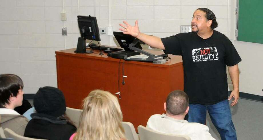 Juan Melendez, who spent 17 years on Florida's death row, speaks at WCSU, in Danbury, CT, about abolishing the death penalty on Wednesday, Nov. 18, 2009 Photo: Jay Weir / The News-Times