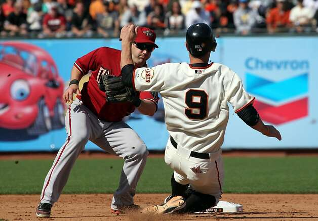 San Francisco Giants Brandon Belt is tagged out after attempting to steal second base in the eighth inning against the Arizona Diamondbacks Monday May 28, 2012 at AT&T Park in San Francisco California. Giants won-4-2. Photo: Lance Iversen, The Chronicle