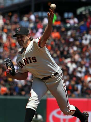 San Francisco starting pitcher Barry Zito throws to the Arizona Diamondbacks in the second inning of their MLB baseball game  Monday May 28, 2012 at AT&T Park in San Francisco California. Photo: Lance Iversen, The Chronicle
