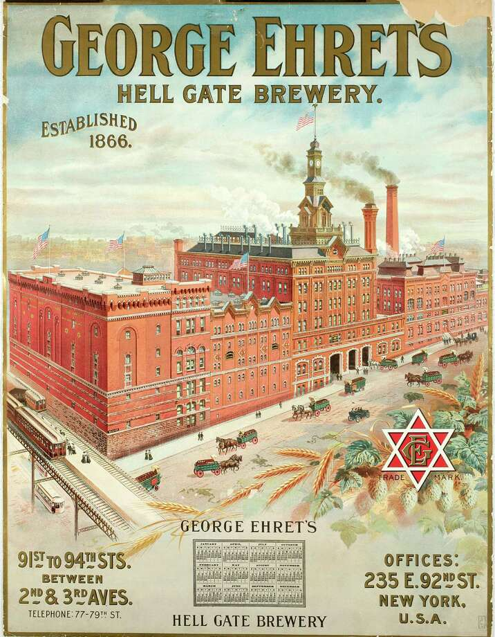"This undated photo provided by the New-York Historical Society shows a color lithograh of  ""George Ehret's Hell Gate Brewery,""  which will be a part of the uncoming exhibit ""Beer Here,"" featuring a small beer hall and the chance to try a selection of New York City and state artisanal beers. Photo: AP / New-York Historical Society"