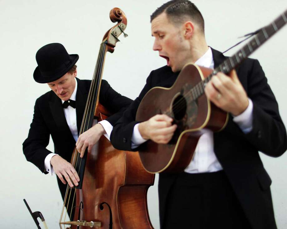 The Two Man Gentlemen Band (Fuller Codon, left, and Andy Bean) plays retro jazz and swing for contemporary audiences. Photo: Bean-Tone Records