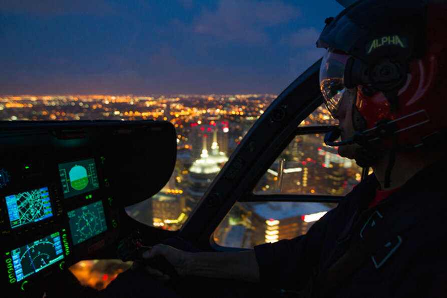 Jack Shover pilots a Life Flight helicopter over the Texas Medical Center en route to Memorial-Herma