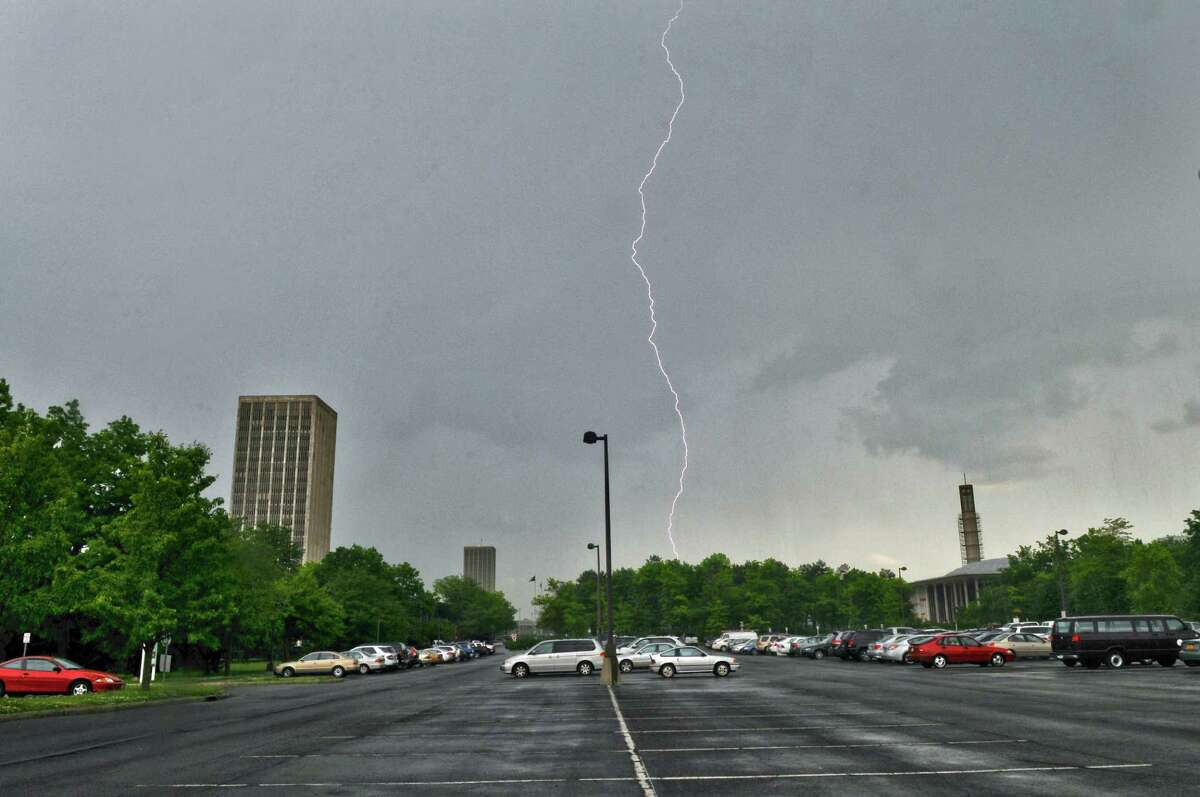 Lightning strikes near the UAlbany campus on Tuesday afternoon May 29, 2012 in Albany, NY. A tornado watch was issued for Tuesday afternoon. (Philip Kamrass / Times Union )
