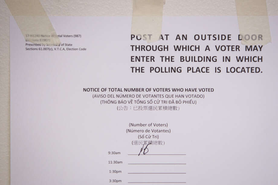 A sign listing the low number of voters from Precinct 156 who cast their ballots at the Palm Center, 5300 Griggs Road, for the 2012 Texas Primary, Tuesday, May 29, 2012, in Houston.  (Michael Paulsen / Houston Chronicle)