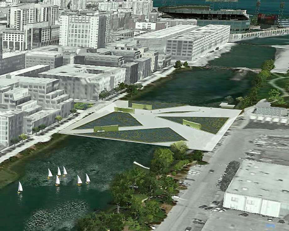 The San Francisco architecture firm Kuth/Ranieri has done a number of speculative design proposals meant to put forward new ideas about urban issues. Their latest is SOMA Falls, which would turn wastewater treatment and purifying into a highly visible event. The location would be atop Mission Creek in the fast-growing Mission Bay neighborhood. Photo: Kuth/Ranieri