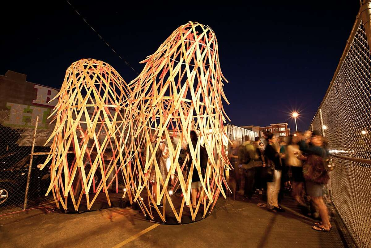 Trilux, an interlocking set of wooden lattice structures designed and fabricated by the San Francisco firm Future Cities Lab, was on display along Octavia Boulevard for three months in 2011